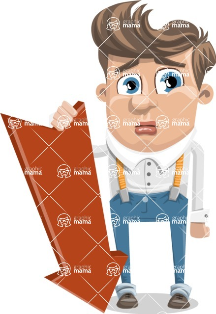 Funny Young Man Cartoon Vector Character AKA Spencer - Pointer 3