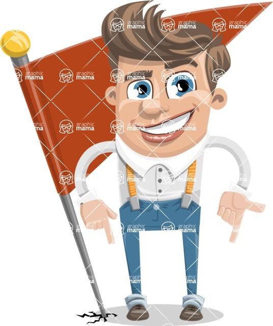 Funny Young Man Cartoon Vector Character AKA Spencer - Checkpoint
