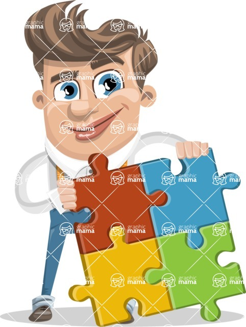 Funny Young Man Cartoon Vector Character AKA Spencer - Puzzle