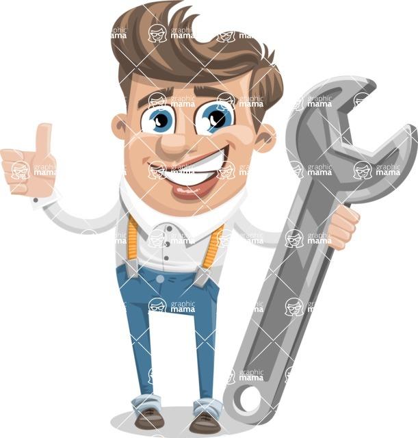 Funny Young Man Cartoon Vector Character AKA Spencer - Repair