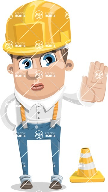 Funny Young Man Cartoon Vector Character AKA Spencer - Under Construction 1