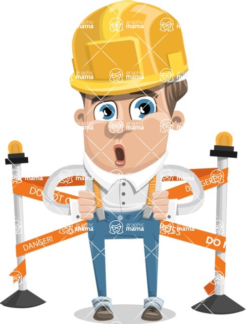 Funny Young Man Cartoon Vector Character AKA Spencer - Under Construction 2