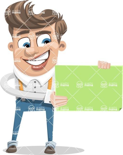 Funny Young Man Cartoon Vector Character AKA Spencer - Sign 2