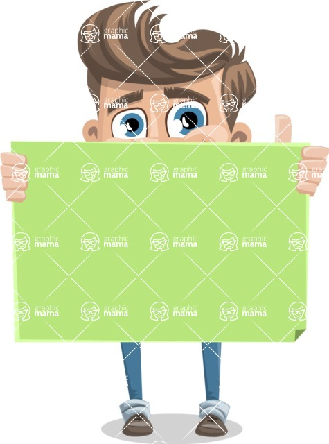 Funny Young Man Cartoon Vector Character AKA Spencer - Sign 5