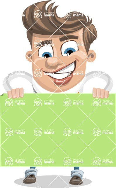 Funny Young Man Cartoon Vector Character AKA Spencer - Sign 6