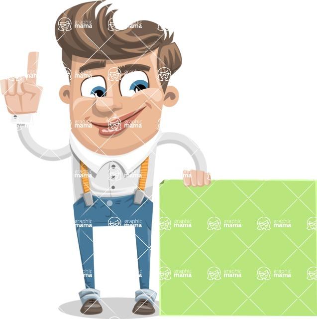 Funny Young Man Cartoon Vector Character AKA Spencer - Sign 7