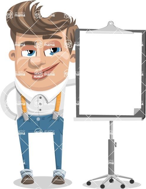 Funny Young Man Cartoon Vector Character AKA Spencer - Presentation 1