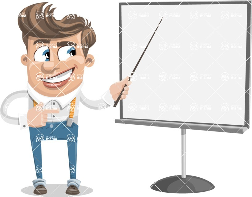 Funny Young Man Cartoon Vector Character AKA Spencer - Presentation 2