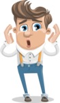 Funny Young Man Cartoon Vector Character AKA Spencer - Shocked