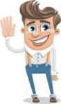 Funny Young Man Cartoon Vector Character AKA Spencer - Wave