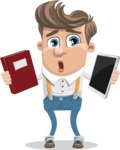 Funny Young Man Cartoon Vector Character AKA Spencer - Book and iPad