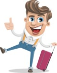 Funny Young Man Cartoon Vector Character AKA Spencer - Travel 1