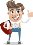 Funny Young Man Cartoon Vector Character AKA Spencer - Travel 2