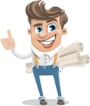 Funny Young Man Cartoon Vector Character AKA Spencer - Plans