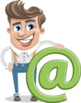 Funny Young Man Cartoon Vector Character AKA Spencer - Email