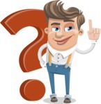 Funny Young Man Cartoon Vector Character AKA Spencer - Question