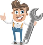 Funny Young Man Cartoon Vector Character AKA Spencer - Repair
