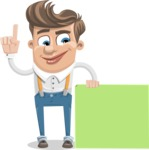 Funny Young Man Cartoon Vector Character AKA Spencer - Sign 7