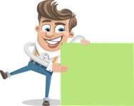Funny Young Man Cartoon Vector Character AKA Spencer - Sign 8
