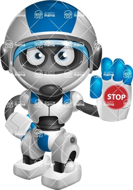 robot vector cartoon character design by GraphicMama - Stop