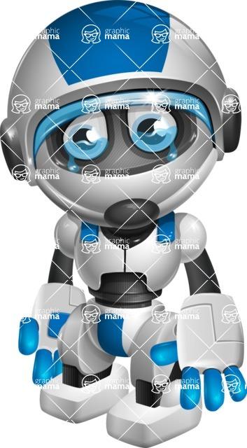 robot vector cartoon character design by GraphicMama - Sad