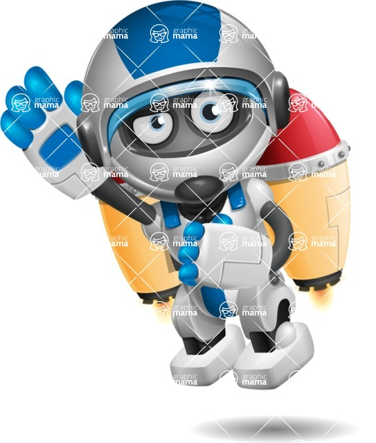 robot vector cartoon character design by GraphicMama - Flying