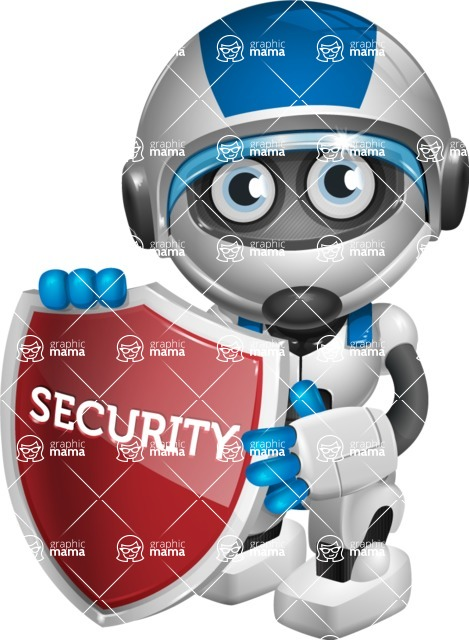 robot vector cartoon character design by GraphicMama - Security 2