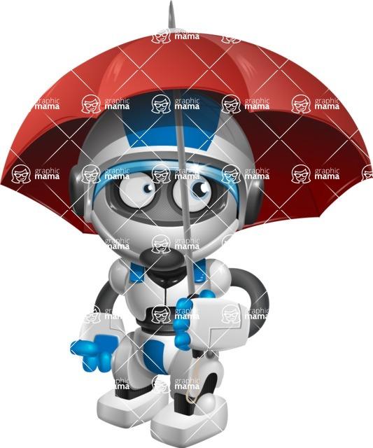 robot vector cartoon character design by GraphicMama - Umbrella