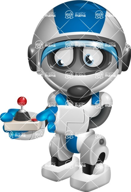 robot vector cartoon character design by GraphicMama - Joystick