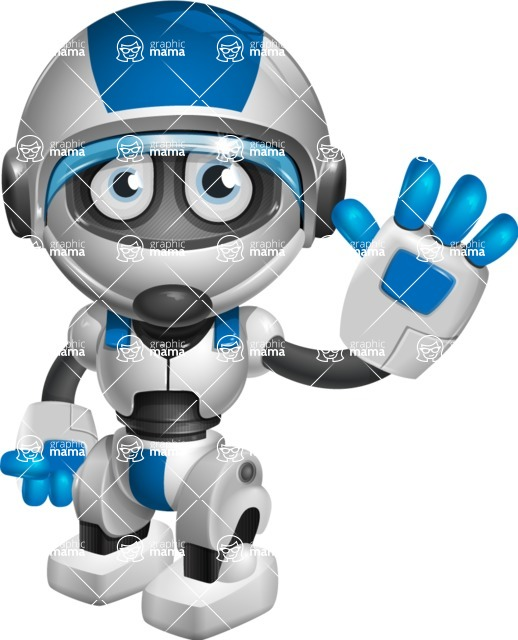 robot vector cartoon character design by GraphicMama - Wave