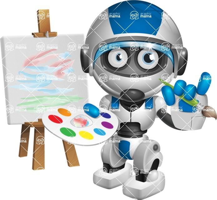 robot vector cartoon character design by GraphicMama - Artist