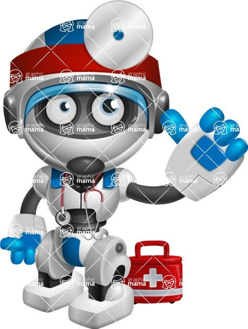 robot vector cartoon character design by GraphicMama - Doctor