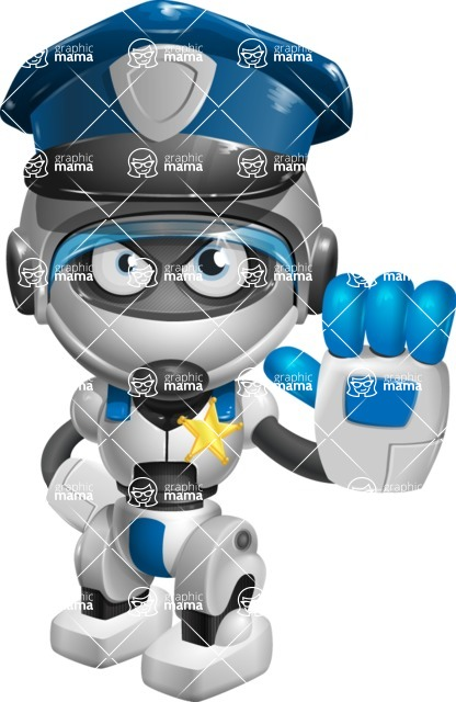 robot vector cartoon character design by GraphicMama - Policeman