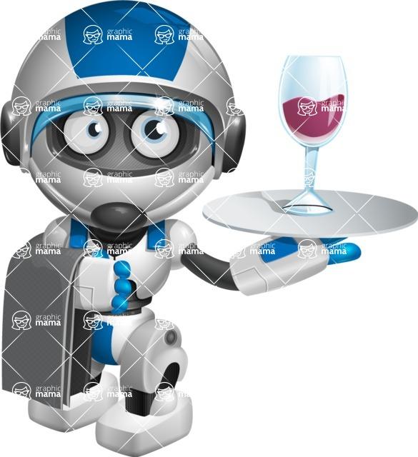 robot vector cartoon character design by GraphicMama - Waiter
