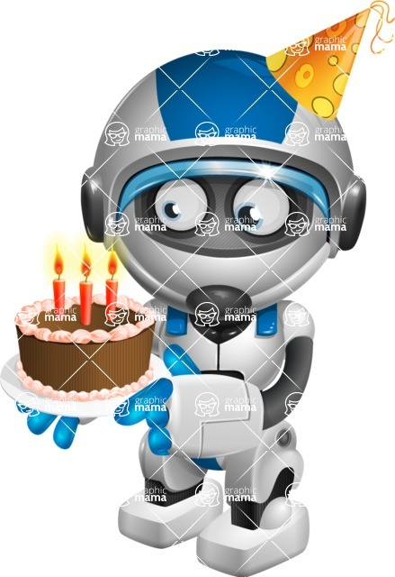 robot vector cartoon character design by GraphicMama - Birthday