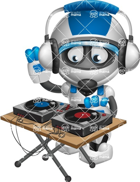 robot vector cartoon character design by GraphicMama - DJ