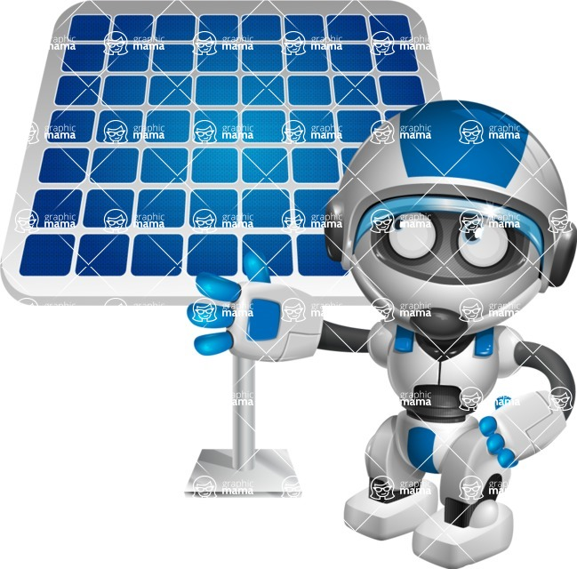robot vector cartoon character design by GraphicMama - Solar Panel