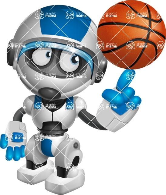robot vector cartoon character design by GraphicMama - Basketball
