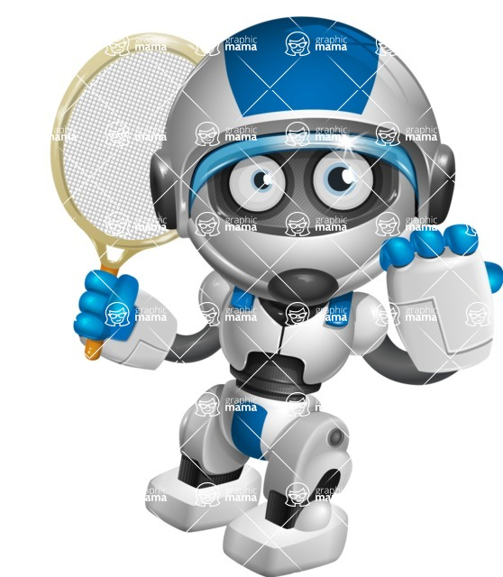 robot vector cartoon character design by GraphicMama - Tennis 2