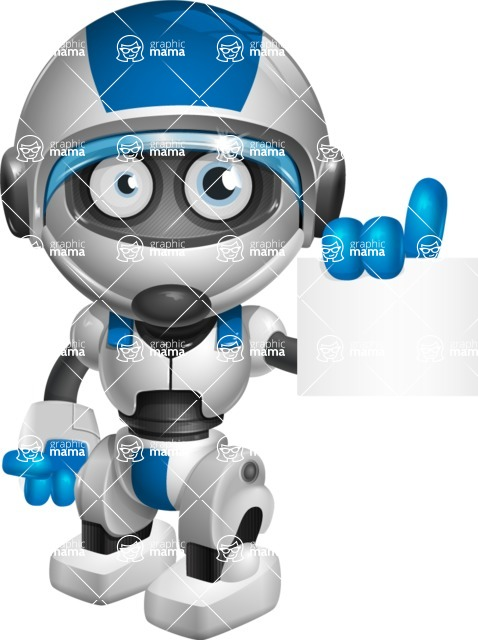 robot vector cartoon character design by GraphicMama - Sign 2