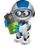 robot vector cartoon character design by GraphicMama - Battery