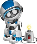 robot vector cartoon character design by GraphicMama - Charging