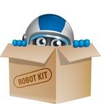 robot vector cartoon character design by GraphicMama - Box