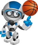 robot vector cartoon character design by GraphicMama - Basketball