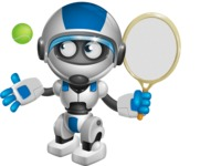 robot vector cartoon character design by GraphicMama - Tennis 1