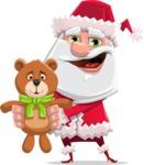 Santa Claus Cartoon Flat Vector Character - With Plush Bear Gift