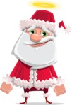 Santa Claus Cartoon Flat Vector Character - Being Good with a Halo