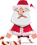 Santa Claus Cartoon Flat Vector Character - Being Sad With Broken Candy Cane