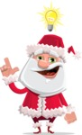 Santa Claus Cartoon Flat Vector Character - Being Smart with an Idea