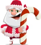 Santa Claus Cartoon Flat Vector Character - With Candy Cane